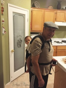 Here is abuelito (grandpa) wearing Markus around 14 months (or older?) in an ergo. :)