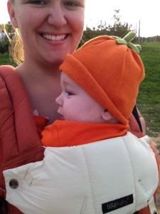 My little pumpkin at the patch for his first time! Lillebaby kept him warm and secure in a new place.
