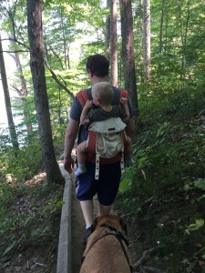My husband hiking with Lucas around Ogle Lake in Brown County State Park.