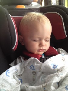 Sleeping on schedule with his routine even while en route on a long car trip. We stop, change him, get him settled, then talk about his day and sing, then he falls asleep in the car. *Magic*