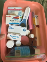 Baby-to-be's medicines and care tools in the coral box. (Because infant Tylenol and Children's Tylenol could be easily confused.)