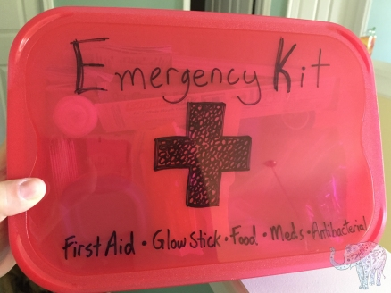 An Emergency Kit for our downstairs bathroom (where we would go to take shelter in case of a tornado).